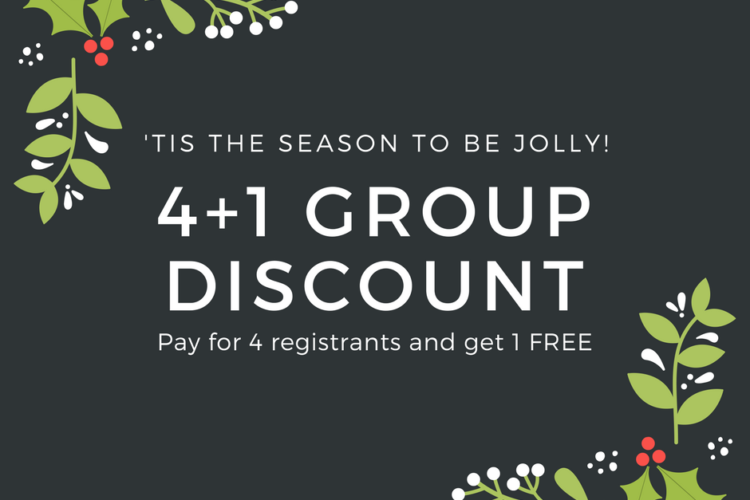 'TIS THE SEASON TO BE JOLLY! 4+1 GROUP DISCOUNT IS HERE!